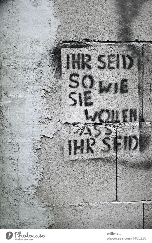 auf'n putz kann jeder haun! Wand Graffiti Mauer Schriftzeichen Beton Putz Politik & Staat Anpassung Subkultur rebellieren Manipulation