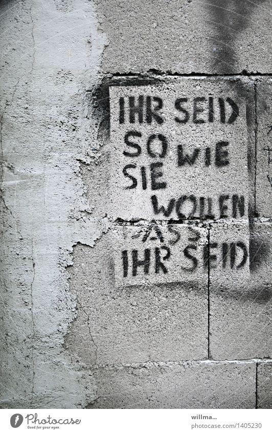 Ihr seid so, wie sie wollen, dass ihr seid. Anpassung und Manipulation, Graffiti auf Hauswand Subkultur Mauer Wand Beton Schriftzeichen Politik & Staat