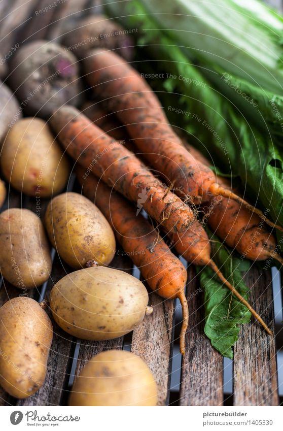 gesundes Gemüse Natur Herbst natürlich Gesundheit Holz Lebensmittel authentisch Ernährung Landwirtschaft Ernte Gartenarbeit Forstwirtschaft Möhre Kartoffeln