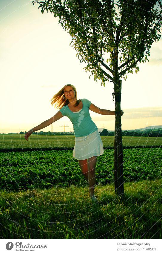 Hakuna Matata Frau Natur Himmel Baum Sonne grün Sommer Freude Erholung Wiese Gefühle Freiheit Haare & Frisuren Feld Wind frei