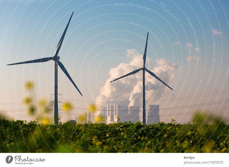 Konkurrenz Kraftwerk Neurath Landwirtschaft Forstwirtschaft Energiewirtschaft Erneuerbare Energie Windkraftanlage Kohlekraftwerk Wolkenloser Himmel Sommer