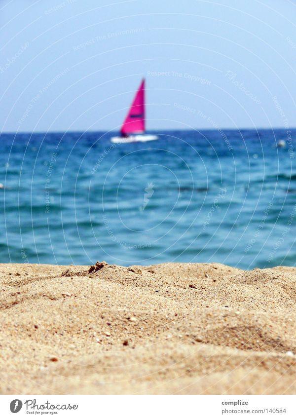 Strand mal minimal Sommer Wasserfahrzeug Segelboot rosa Segeln Surfbrett Meer See Luftaufnahme Sandstrand Ferien & Urlaub & Reisen Wassersport Segelschiff