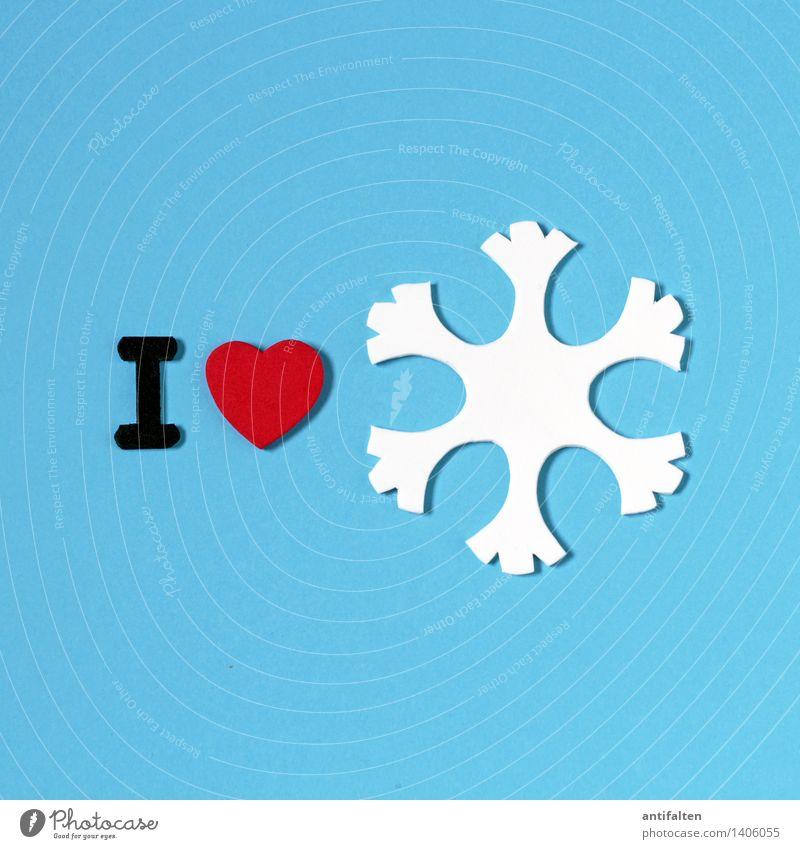 I<3 snow Freizeit & Hobby Handarbeit heimwerken Basteln Kunst Winter Klima Klimawandel Wetter Eis Frost Schnee Zeichen Herz Eiskristall Schneeflocke blau rot