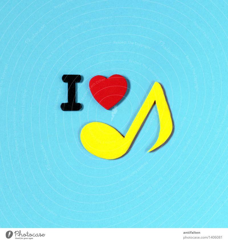 I <3 music rot gelb Liebe Kunst Design Freizeit & Hobby Schriftzeichen Fröhlichkeit Herz Papier Zeichen Buchstaben Medien türkis Werbung