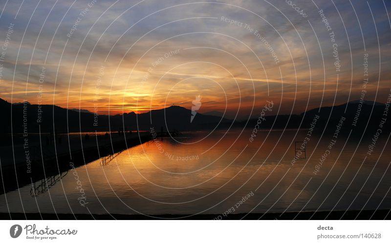 Wörthersee Europa See Blick Wasser kärnten Österreich sonnenuntergang sich[Akk] beugen dämmerung Morgen Reflexion & Spiegelung orange Himmel