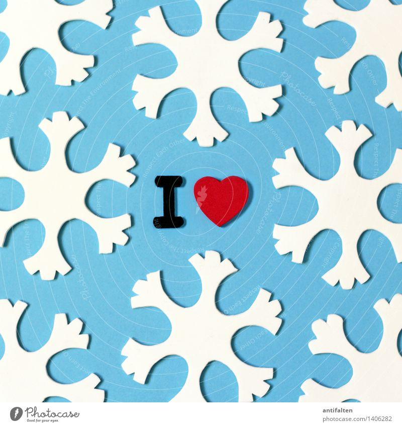 I <3 winter Natur blau Weihnachten & Advent weiß rot Winter kalt Umwelt Liebe Schnee Schneefall Wetter Eis Freizeit & Hobby Schriftzeichen Herz