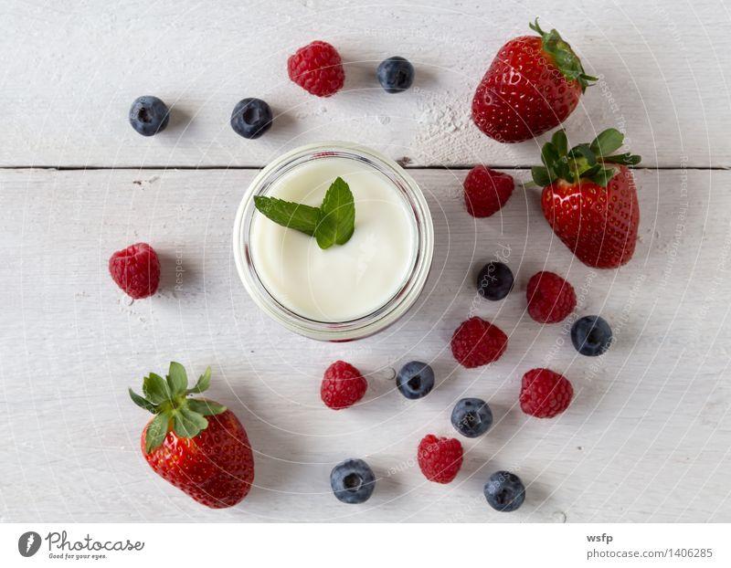 Rote Grütze mit Minze Joghurt Frucht Dessert Holz weiß rote Grütze Himbeeren Blaubeeren weisser Holzhintergrund Erdbeeren Glas Gesund Süsspeise Essen Holztisch