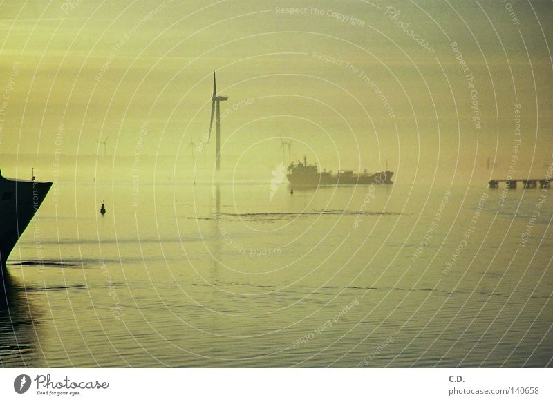 Fähre Wasser Himmel Meer schwarz grau Wasserfahrzeug Nebel Fähre Rostock Warnemünde