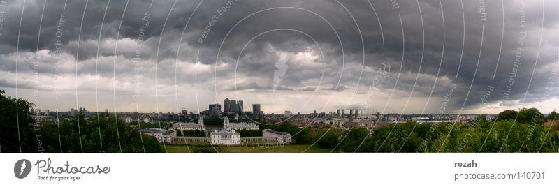 London- Greenwich Stadt bedrohlich Sturm Skyline Unwetter Gewitter England Panorama (Bildformat) Gewitterwolken Großbritannien Wolkenhimmel Wolkendecke