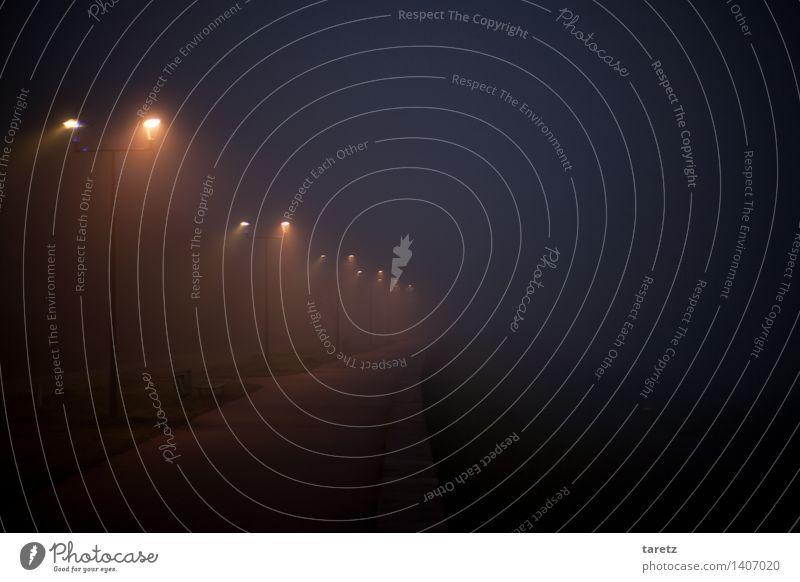 Leuchtpfad Krakow Einsamkeit Nebel Nacht Straßenbeleuchtung Lichtkegel leer Wege & Pfade zielstrebig ungewiss Zukunft kalt dunkel Hoffnung wegweisend Ferne