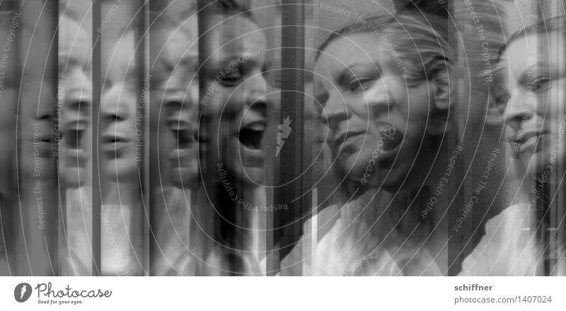 The Devil you know Mensch feminin Frau Erwachsene Gesicht 1 30-45 Jahre schreien singen abstrakt Spiegel Reflexion & Spiegelung Angst Aggression hilflos