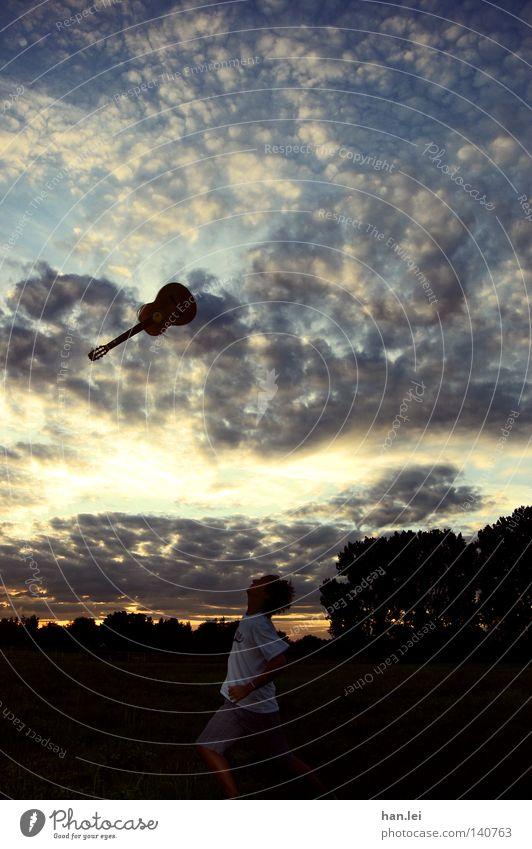 Flying Guitar Himmel Baum Freude Wolken Musik Feld fliegen laufen hoch verrückt aufwärts Gitarre Abenddämmerung werfen Musikinstrument Wolkenformation