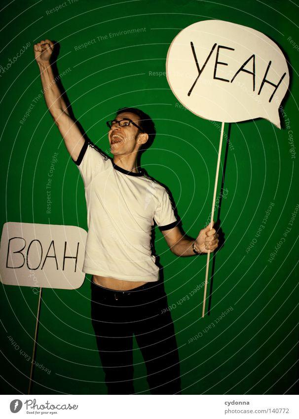 BOAH YEAH Mensch Mann Jugendliche grün Freude Farbe Leben Wand Gefühle Stil Stimmung Kraft Schilder & Markierungen Energiewirtschaft Schriftzeichen Aktion