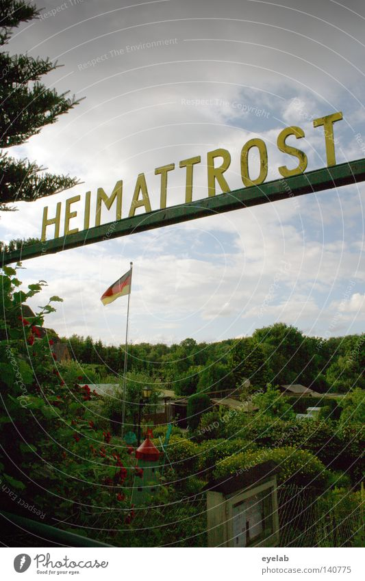 Heimattrost Himmel alt Baum rot Sommer Wolken schwarz Wald gelb Deutschland Zusammensein gold Schilder & Markierungen Schriftzeichen Zukunft Metallwaren