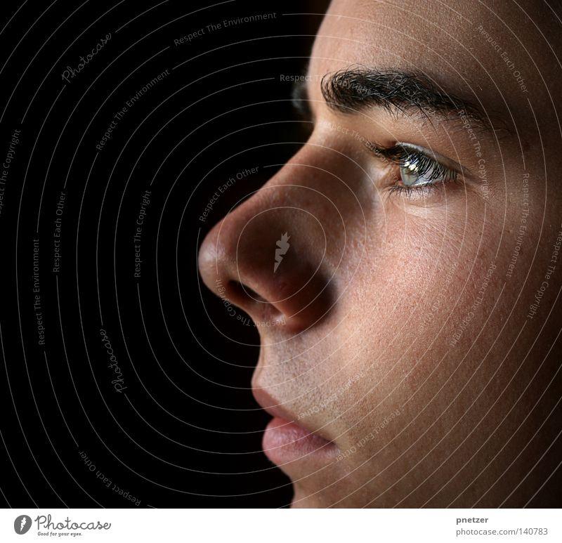 Advance Letter Goodbye Mensch Mann Gesicht schwarz Auge Kopf Mund Haut Nase Trauer Seite Verzweiflung Selbstportrait