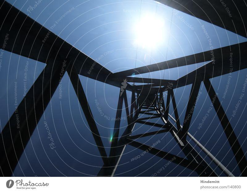 Geometrie | Das Dreieck und der Kreis Himmel Sonne blau dunkel hell Kraft Elektrizität Ecke Kabel Zeichen Sonnenenergie Sportveranstaltung Strommast Konkurrenz