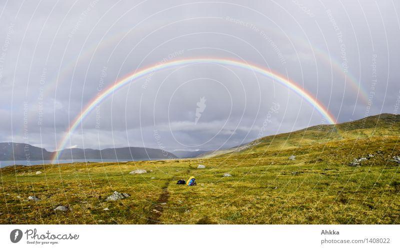 alles umspannend Landschaft Berge u. Gebirge Wiese Wege & Pfade Stimmung Perspektive Idee Abenteuer Hoffnung Schutz Sicherheit Netzwerk Risiko Leidenschaft