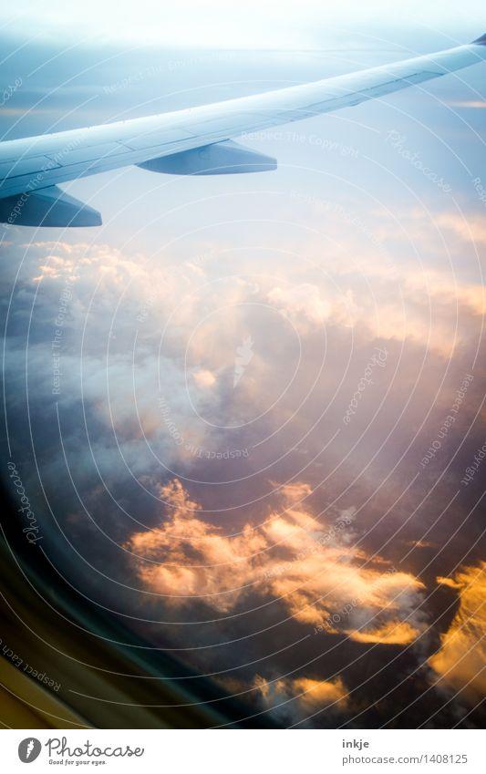 himmel und äd Landschaft Himmel Wolken Sonnenaufgang Sonnenuntergang Sonnenlicht Klima Wetter Luftverkehr Flugzeug Passagierflugzeug im Flugzeug