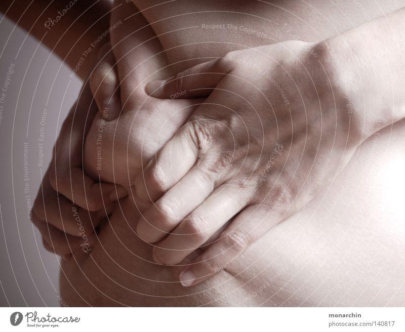 Ablehnung Frau Hand Ernährung Körper Übergewicht Frustration Ablehnung Hüfte Speck Fleisch Lebensmittel