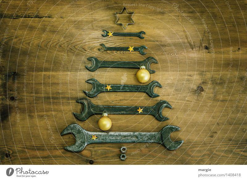 Weihnachtsbaum in gelb Weihnachten & Advent gelb Spielen Holz Feste & Feiern braun Metall Freizeit & Hobby Technik & Technologie Stern (Symbol) Postkarte Beruf Weihnachtsbaum Dienstleistungsgewerbe Handwerk Werkzeug