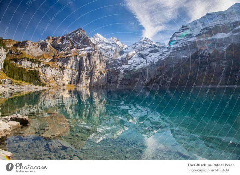 Oeschinesee Umwelt Natur Landschaft Wasser Himmel blau grau grün schwarz silber türkis weiß Schnee Gipfel Gebirgssee Seeufer Spiegelbild Reflexion & Spiegelung