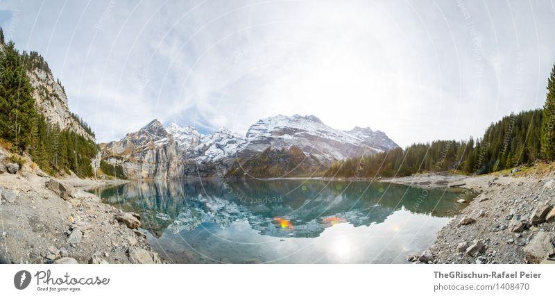 Panorama Umwelt Natur Wasser blau braun grau grün schwarz türkis weiß paradiesisch Panorama (Aussicht) Berge u. Gebirge Küste Stein See Himmel Schnee Gipfel