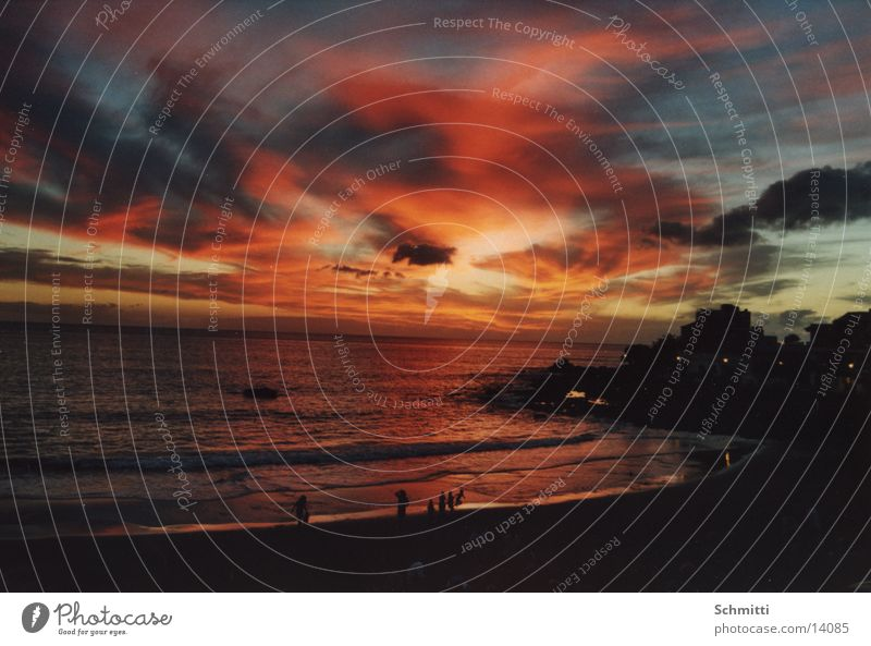 Strand Mensch Wasser Himmel Sonne Meer Wolken Brand Europa