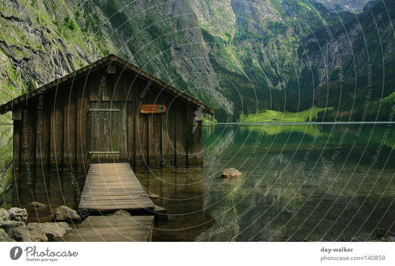 Hütte im Königssee Obersee See Wasser Haus Alm Reflexion & Spiegelung Berge u. Gebirge massiv Alpen Felswand Felsen Natur Bayern Berchtesgaden wandern