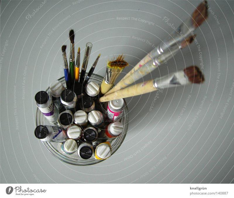 Etwas Großes wird entstehen... Farbstoff Farbe Farben und Lacke Tube Pinsel Borsten Glasbehälter mehrfarbig grau weiß Gemälde streichen