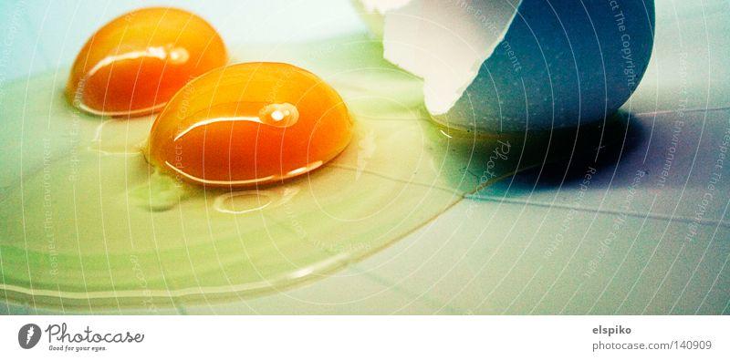 Zwillinge weiß blau gelb oben 2 offen kaputt Flüssigkeit Ei gebrochen Schalen & Schüsseln Zwilling platt Eigelb Eiklar Eierschale
