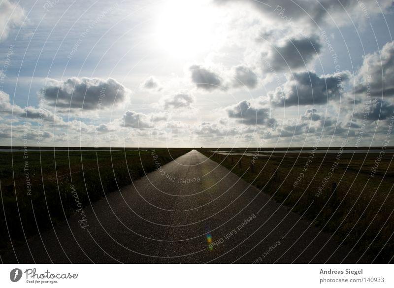 Into the Light Wolken Sonne Wege & Pfade Straße Symmetrie Horizont Unendlichkeit Licht Gegenlicht Norddeich Küste Grenzgebiet Hoffnung Zufriedenheit Bewältigung