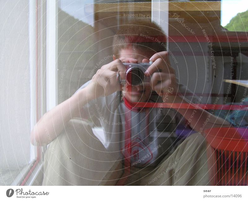 spiegelbild Mann Sommer Glas Spiegel