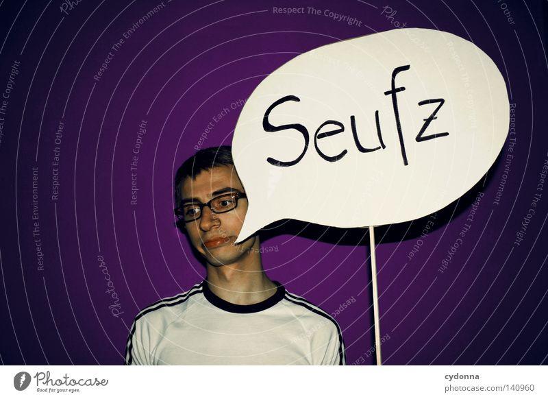 Seufz ... Seufzer Schilder & Markierungen Sprechblase Ausruf Stimmung Kraft Gefühle violett trashig knallig grell Mann Kerl Wand erleuchten