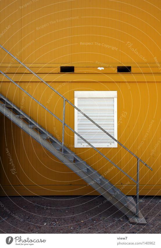 Karriereleiter. Büro Fenster Metall hoch geschlossen Industrie Sicherheit Ende Baustelle Stahl Etage Sportveranstaltung Leiter Geländer Stock