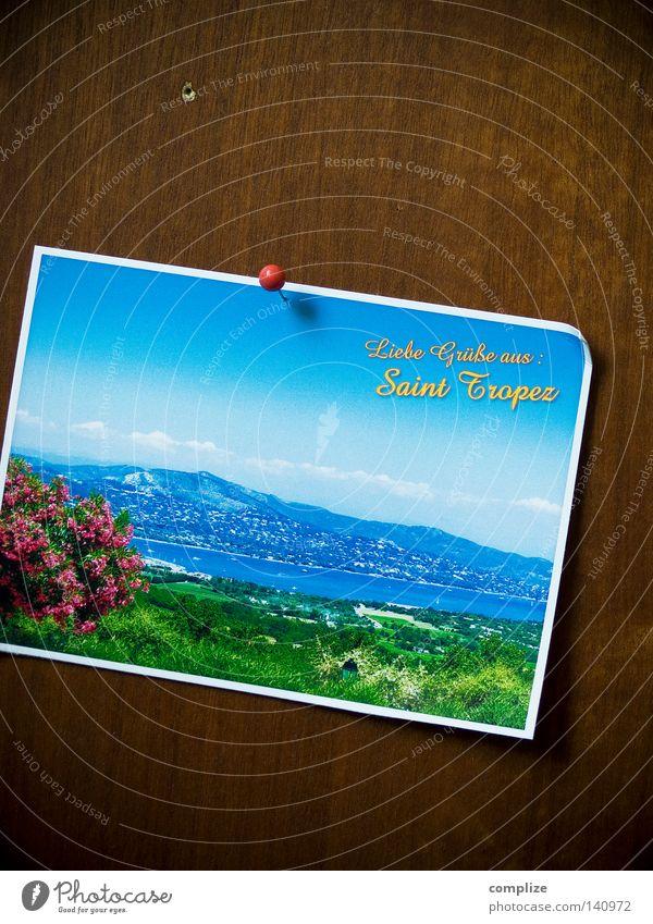 Liebe Grüße aus... Postkarte retro Ferien & Urlaub & Reisen azurblau Sommer mediterran Sommerurlaub Gruß Information Hallo Schwarzes Brett Stecknadel Holz