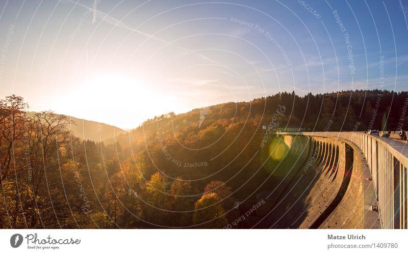 Staumauer in Abendsonne Umwelt Natur Landschaft Himmel Sonne Sonnenaufgang Sonnenuntergang Sonnenlicht Herbst Schönes Wetter Baum Wald Hügel schön Wärme