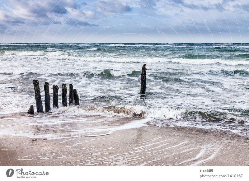 Buhnen an der Küste der Ostsee Erholung Ferien & Urlaub & Reisen Strand Meer Wellen Natur Landschaft Wasser Wolken Sturm Holz blau Tourismus