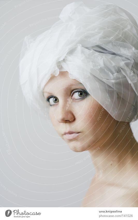 turban Frau Jugendliche weiß schön Gesicht Erwachsene Erholung Mode Haut Junge Frau ästhetisch 18-30 Jahre Papier Beautyfotografie Stoff Wellness