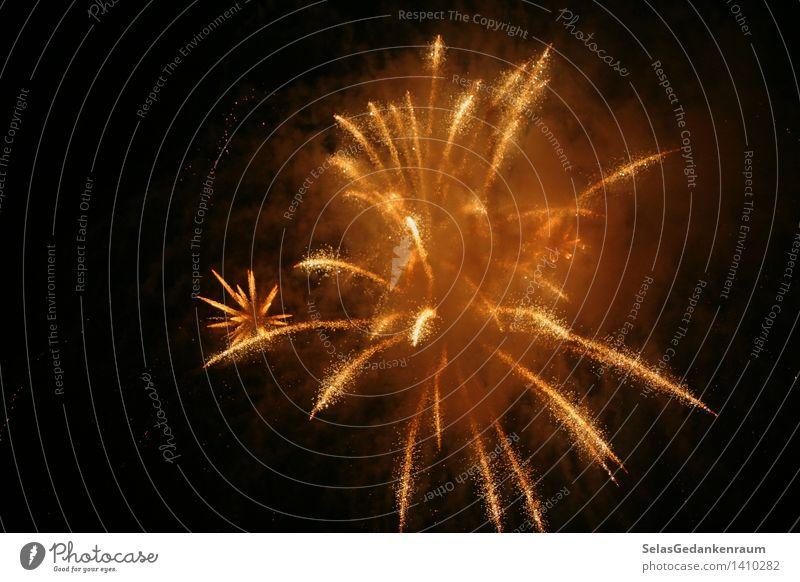 Goldregen Freude Glück Ferien & Urlaub & Reisen Ausflug Veranstaltung Feste & Feiern Jahrmarkt Wärme gold schwarz Begeisterung Romantik Feuerwerk Nachtaufnahme