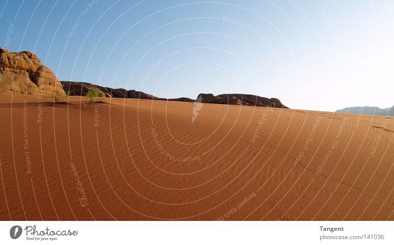 Wadi Ram Sommer Einsamkeit Ferne Wärme Sand Felsen Erde groß Unendlichkeit Sehnsucht trocken Spuren Wüste Wolkenloser Himmel heiß Stranddüne