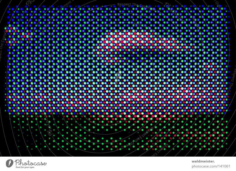 CRT-Landschaft grün blau rot Landschaft Technik & Technologie Bildschirm Kleinmotorrad Raster Miniatur RGB Elektrisches Gerät Retroring