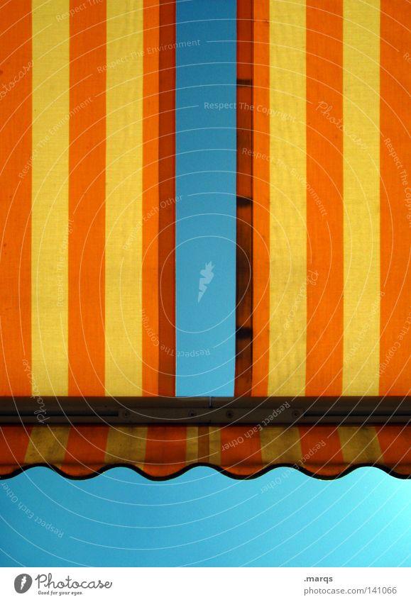 Sonnenbrand Himmel blau alt Ferien & Urlaub & Reisen Sommer Erholung gelb Wärme Garten Linie orange Wohnung Freizeit & Hobby dreckig leer Streifen