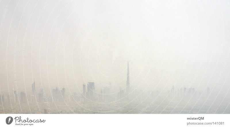 Juwelen der Neuzeit. Smog Stadt modern verfaulen Zukunft Hochhaus Umwelt Umweltverschmutzung Staub Physik dreckig Dubai Zusammensein verbinden Bündnis Arabien