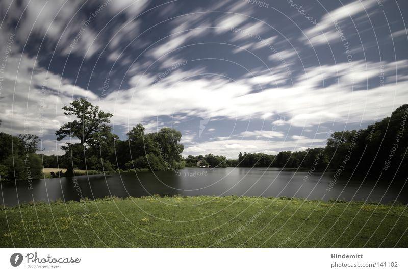 LOKALKOLORIT | Stürmisch Wasser Himmel weiß Baum grün blau Blatt Wolken Wald Gras Bewegung Garten See Park Wind Geschwindigkeit
