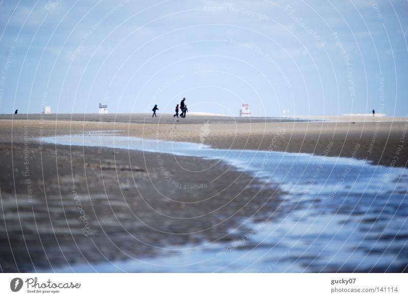 Strand Amrum Nordsee Meer Ebbe Flut Wassermassen Sand Gezeiten Priel Spaziergang Ferne Horizont Meerwasser Ferien & Urlaub & Reisen Sommer Deutschland