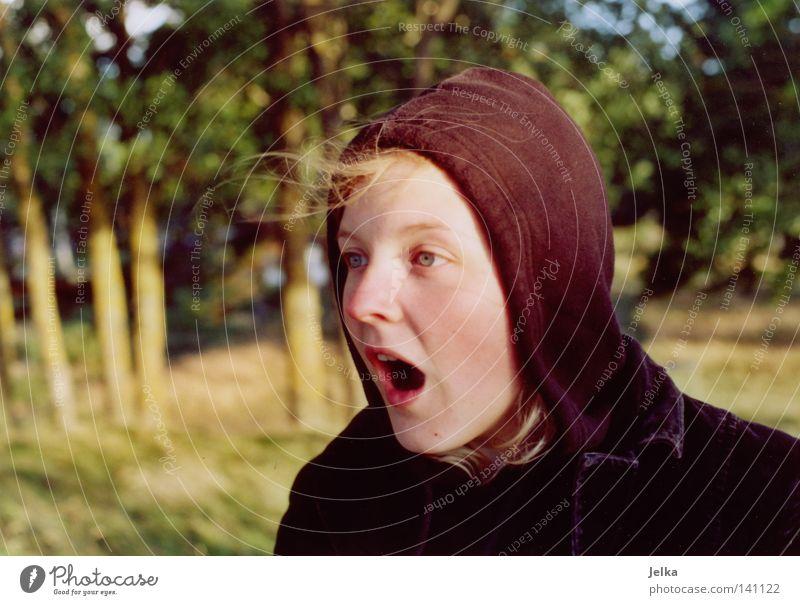 ohhhh, ein elch! Frau Jugendliche Baum Erwachsene Wald kalt Küste Wind blond Schweden Kapuze erstaunt staunen Wahnsinn Kapuzenpullover Boa