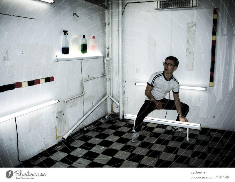 Neon Mensch Mann Jugendliche weiß Freude Farbe Leben Wand Sport Gefühle Stil Stimmung Raum Kraft Energiewirtschaft Schriftzeichen