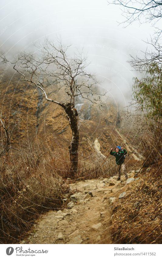 Wandern Sport Fitness Sport-Training Klettern Bergsteigen wandern Mensch 1 Umwelt Natur Landschaft Nebel Wald Hügel Alpen Berge u. Gebirge sportlich Erfolg