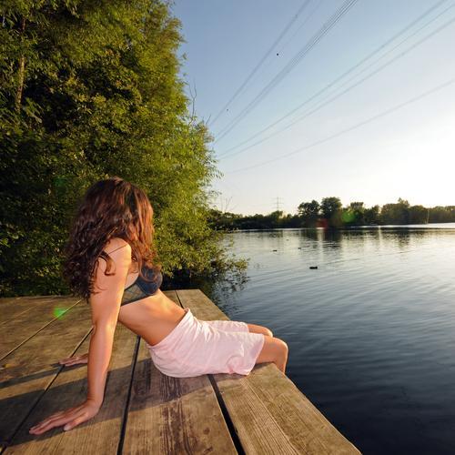 tag am see See Ferien & Urlaub & Reisen Erholung Wellness Gesundheit ruhig Frieden Freizeit & Hobby Freude Schwimmen & Baden Abend Sonnenuntergang Sonnenenergie