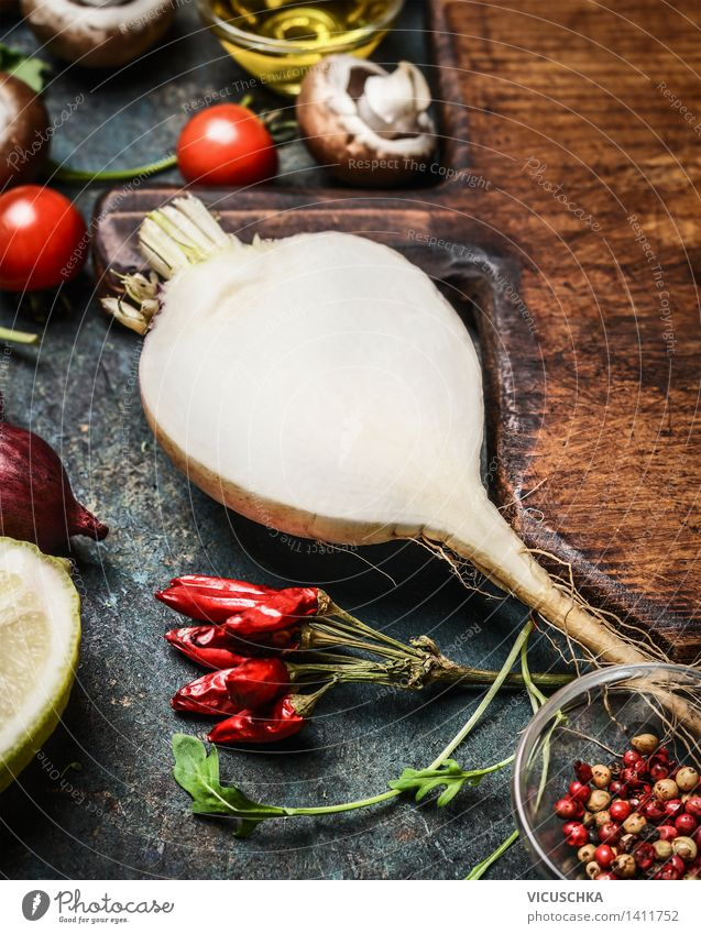 Wurzelgemüse und vegetarische Zutaten für gesundes Kochen Natur Sommer Gesunde Ernährung Leben Essen Foodfotografie Stil Lebensmittel Design Tisch